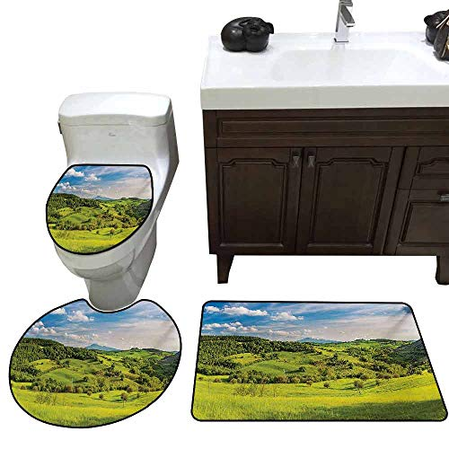 3 Piece Toilet Cover Set Tuscany Tuscany Italy Sunlight Homestead Plantation Farms Pathway Greenery Print Printed Sky Blue Apple Green]()