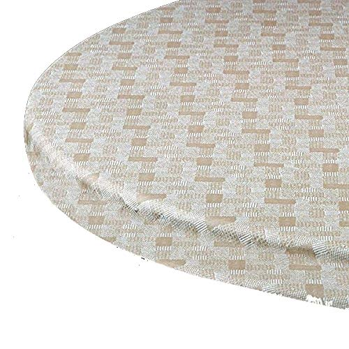 "Elastic Edge Round Fitted Vinyl Tablecloth fit 36"" to 44"""