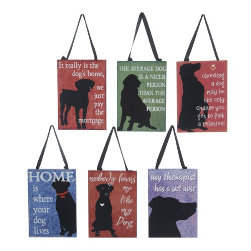 Kurt Adler Set of 6 Assorted Dog Silhouette Plaque Ornaments