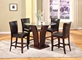 glass counter tops Roundhill Furniture Clar 5-Piece  Glass Top Counter Height Dining Set , Espresso Finish