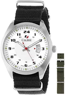 Calibre Men's SC-4T1-04-001SC Trooper Stainless Steel Interchangeable Black/Green Canvas Straps Watch Set