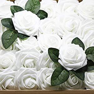 Artificial Flowers Real Touch Fake Latex Rose Flowers Home Decorations DIY for Bridal Wedding Bouquet Birthday Party Garden Floral Decor - 25 PCs 2