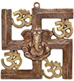JaipurCrafts WebelKart Wall Hanging Of Lord Ganesha On Swastik With Om Showpiece - 22.86 cm (Original And Authentic)
