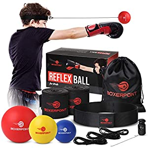 Well-Being-Matters 51bOyH6pdLL._SS300_ BOXERPOINT Boxing Reflex Ball Set for Kids - 3 Difficulty Level Soft Punching Balls - Boxing Training Equipment with…