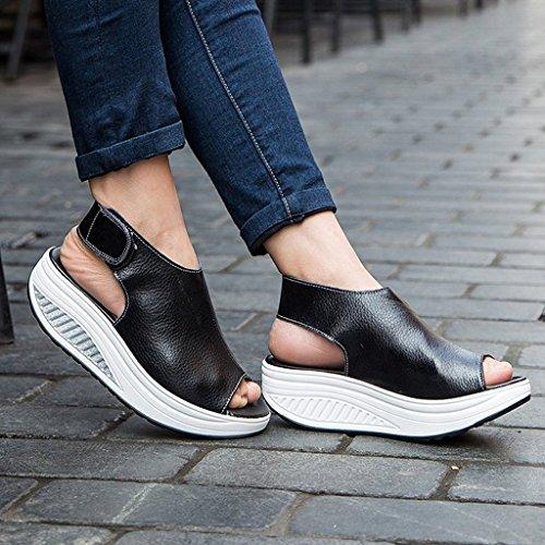 Bdawin Shape Ups Mujer Cuero Confort Peep Toe Cuña Sandalias Plataforma Tacón Zapatos Para Caminar Negro