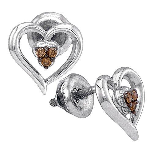 925 Sterling Silver Heart Shape Stud Prong Chocolate Brown Diamond Earrings (.07 ()