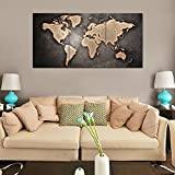 RAIN QUEEN Canvas Print Abstract Poster Print Grey World Map on Stone Oil Paintings Wall Art for Home Decoration 3pcs/set