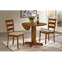 3 Piece Dining Set. 36 Drop Leaf Table with Two Chairs All Light Oak Finish