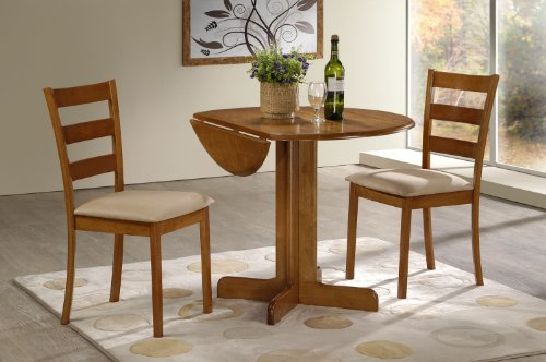 "3 Piece Dining Set. 36"" Drop Leaf Table with Two Chairs All Light Oak Finish"