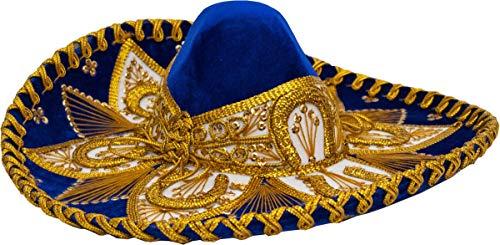 Authentic Adult Mexican Sombrero Mariachi Charro Hat, Premium Mexican Hat for Costume Parties, 5 de Mayo, 16 de Septiembre (Blue and Gold Child) -
