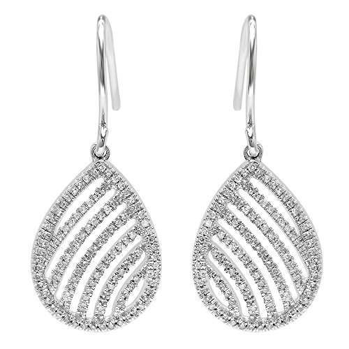 Dazzlingrock Collection 0.32 Carat (ctw) 14K Round Cut White Diamond Dangling Drop Earrings 1/3 CT, White Gold