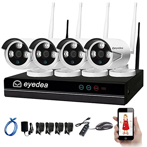 Eyedea 4 CH WiFi 5500TVL 1080P 2.0MP NVR Wireless Camera Video Surveillance DVR Easy Setup with IP Network Night Vision Home Store Business Supermarket CCTV Security System Smart Phone Remote View by eyedea