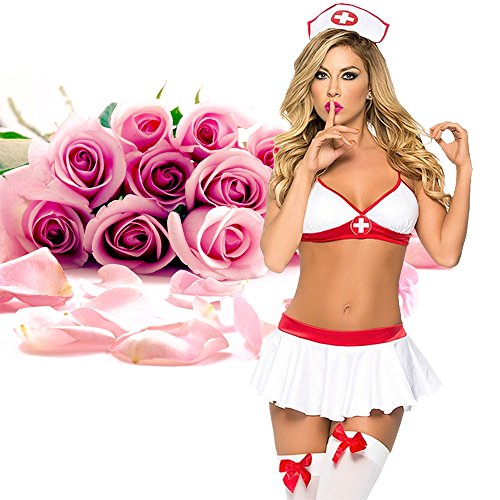 ADOGO Lingerie Nurse Sexy Costume Outfit Set Babydoll