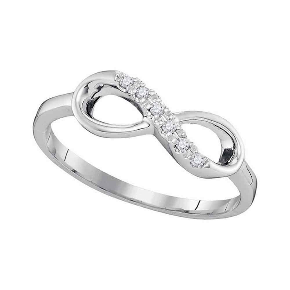 10kt White Gold Womens Round Diamond Infinity Band Ring 1/20 Cttw