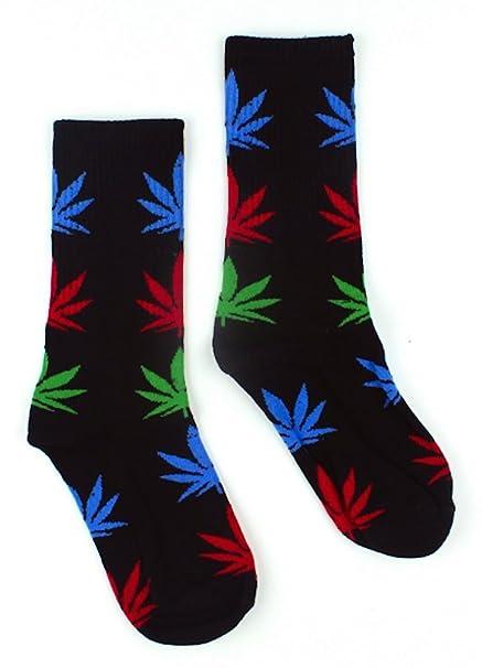 Calcetines con diseño de marihuana, color negro, con hojas azules, rojas, verdes