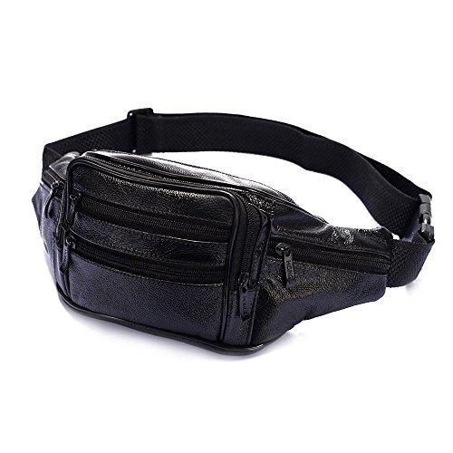 Multiple Pocket Genuine Leather Fanny Pack, Soft Comfortable Leather Waist Pack (Black)