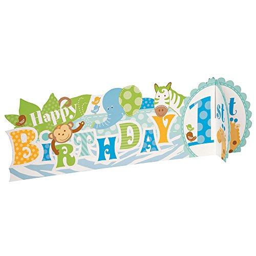 Safari 1st Birthday - Blue Safari First Birthday Centerpiece Decoration