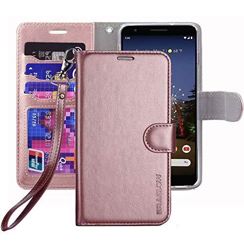ERAGLOW Pixel 3a Case, Google Pixel 3 Lite Case, Premium PU Leather Wallet Flip Protective Phone Case Cover w/Card Slots & Kickstand for Google Pixel 3a 5.6