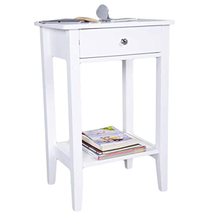 Amazon.com: Nightstand Tall End Table Storage Wood Cabinet Bedroom ...