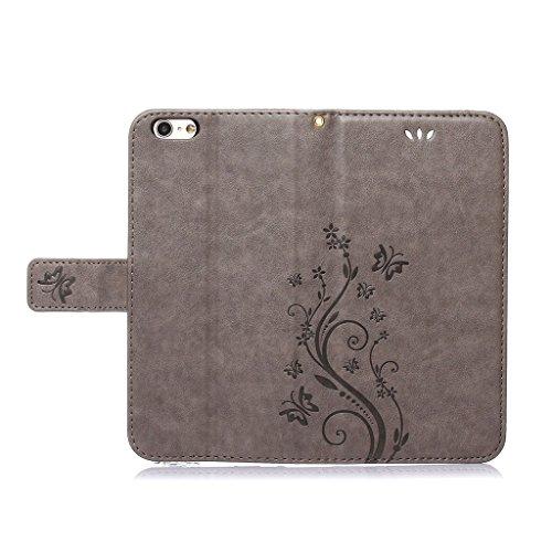 """Leathlux iPhone 6 Plus 6s Plus coque Étui Housse en Cuir Aimantée Carte Synthetique Cuir PU Portefeuille Folio Flip Case Cover Wallet Coque pour iPhone 6s Plus / 6 Plus 5.5"""" Gris"""