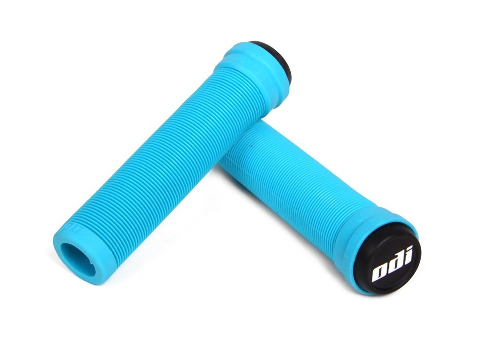 ODI Soft Longneck Flangeless Aqua Blue Bicycle Grips