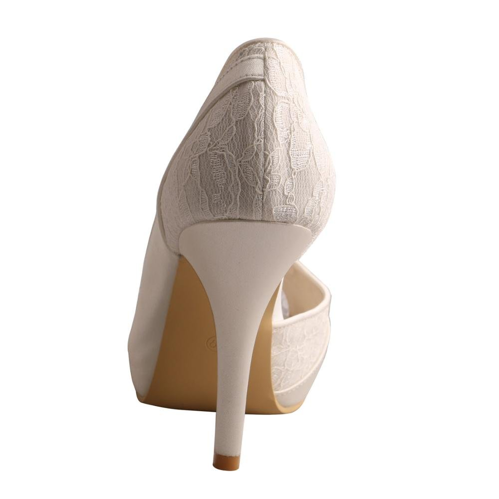 Wedopus MW702 Women High Heel Satin and Lace Pumps Open Toe Bridal Wedding Shoes Platform B01KVC10K0 9 B(M) US|Ivory