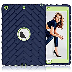 iPad 9.7 inch 2017 Case ,PIXIU [Shockproof][Drop Protection][Heavy Duty] Rugged Three-Layer Defender best cases For Apple iPad 5 A1822/A823 2017 Released Navy Blue / Green