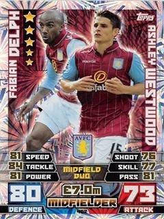 Match Attax 2014/2015 Fabian Delph / Ashley Westwood 14/15 Duo Card Topps