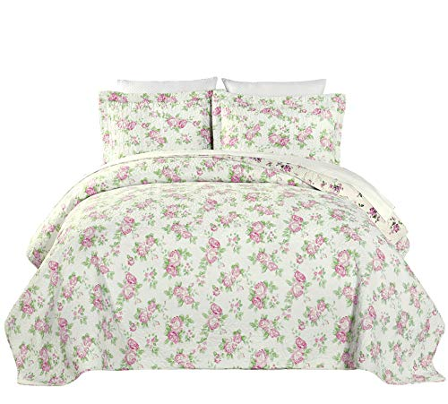 Chezmoi Collection 2PC 2-in-1 Reversible Pink Rose Vintage Washed 100%-Cotton Quilt Set (Twin)