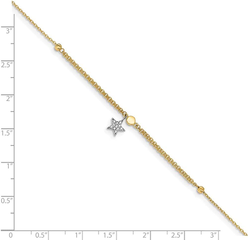 14k White Gold Cable Link Chain Anklet With Lobster Clasp 9 Round Faceted White CZ 10 Inch