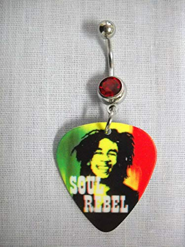 Rasta Colors BOB Marley Soul Rebel Picture Guitar Pick RED Belly Button Ring KEZ-2642