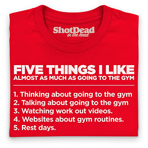 Five Things I Like - The Gym Camiseta Funny Novelty Gift, Para mujer Rojo