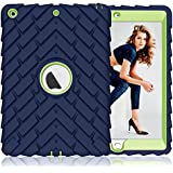 PIXIU New iPad Case 2017/2018 9.7 inch [Shockproof][Heavy Duty] Rugged Defender Full Body Protective case for iPad 5th Generation (A1822,A1823)/iPad 6th Generation (A1893,A1954) Navy Blue/Green
