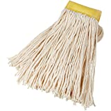 AmazonBasics Cut-End Cotton Mop Head, 5-Inch Headband, Large, White - 6-Pack