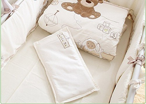 JACKBABYBABY Unisex Baby Bedding Set Cotton 3D Embroidery Bear Quilt Pillow Bumper Bed Sheet 5 Pieces Crib Bedding Set White Color by JACKBABYBABY