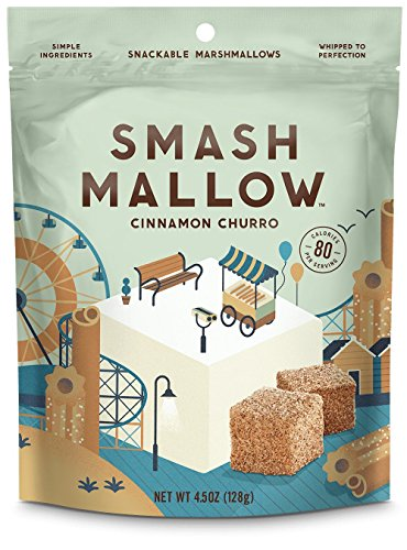 Smash Mallow Snackable Marshmallows Cinnamon Churro 4.5 oz (Pack of 4) by Smash Mallow