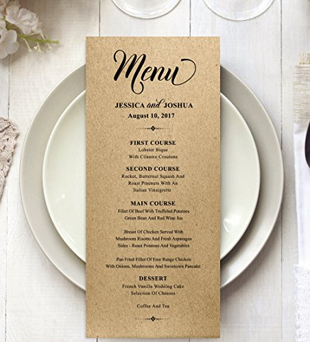 20 Personalized Wedding Menu Cards (9x4 Inches) Custom Rustic Dinner Menu Prints - Kraft (Please Sign Date And Mail)