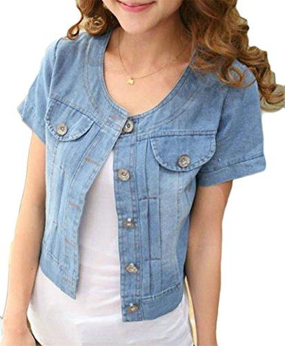 (Pcutrone Women Classic Thin Shawl Short Sleeve Overcoat Denim Button Down Bolero Jacket Dark Blue L)