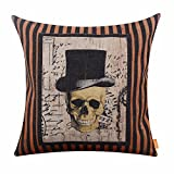 LINKWELL 18x18 inches Happy Halloween Scary Skull with Hat Burlap Throw Cushion Cover Pillowcase CC1192