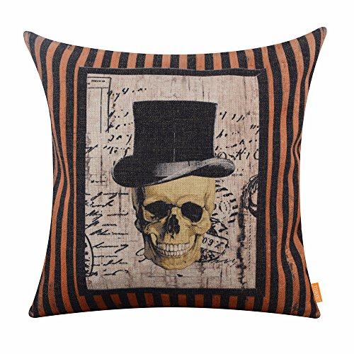 LINKWELL 18x18 inches Happy Halloween Scary Skull with Hat Burlap Throw Cushion Cover Pillowcase CC1192 ()