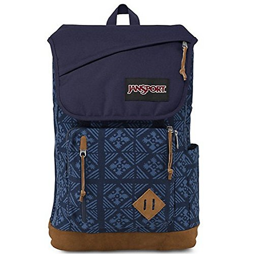 Jansport Cordura Fabric / Suede Leather Hensley Backpack Blue Indigo Adire - JS00T69K08Y