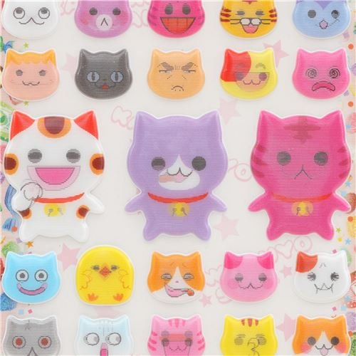 Stickers Lenticular (L E M O N Colorful cat Animal Puffy lenticular Stickers)