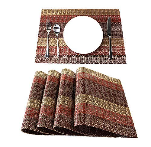 Lavin Placemats, Set of 4, Food Grade Stripe Golden Red, Wipe Clean Heavy Duty Vinyl Woven Stain Resistant and Heat-Resistant, Perfect for Holidays Dining Table Kitchen and Every Day Use, 12x18 Inch