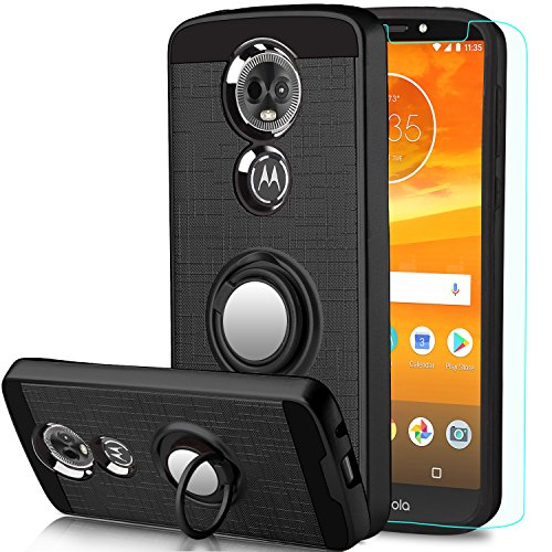 Moto E5 Plus Case, Moto E5 Supra Case with HD Screen Protector,Anoke Motorola E5 Plus Cellphone 360 Degree Rotating Ring Holder Kickstand for Moto E5 Plus ZS Black