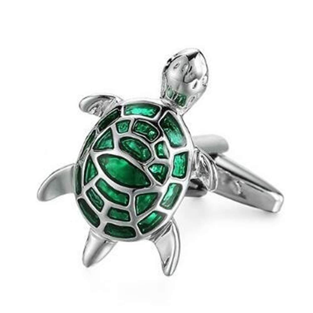Yamalans Exquisite Unisex Sleeve Cufflinks,1 Pair Cartoon Alloy Turtle Shape Design Suit Shirt Sleeve Buttons Cuff Jewelry Business Cufflink Xmas Gift Green