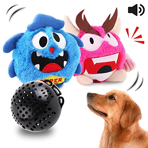 Petbobi Dog Toys Interactive Plush Squeak Giggle Ball Automatic Shake Crazy Bouncer Toys for Puppy Motorized Exercise Electronic Toy Entertainment for Pets 2 Covers