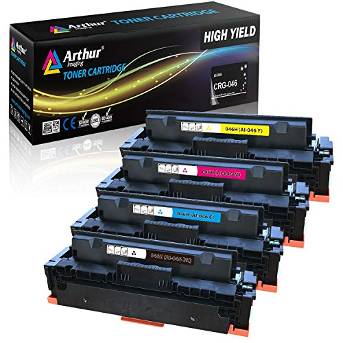 - Arthur Imaging Compatible replacement for Canon 046H CRG 046 High Yield Black Cyan Magenta Yellow Toner Cartridge for use with Canon imageCLASS MF733Cdw MF731Cdw MF735Cdw LBP654Cdw MF733 MF731, 4-Pack