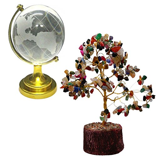 Divya Mantra Feng Shui Natural Multicolor Healing Gemstone Crystal Bonsai Fortune Tree and Crystal Globe for Good Luck, Wealth & ()