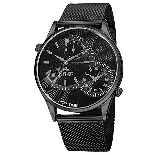 August Steiner Men's AS8168BK Black Dual Time Zone Quartz Watch with Black Dial and Black Mesh - Swiss Zone Time