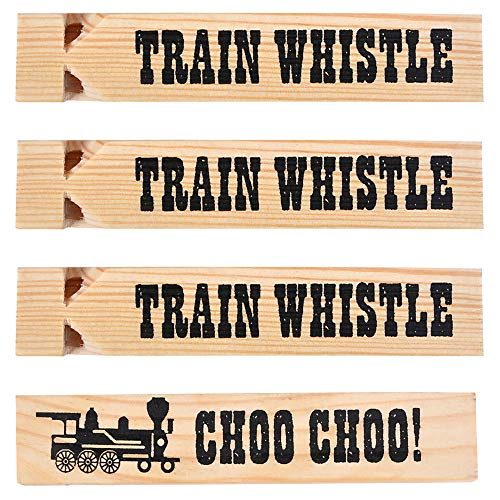 Wooden Train Whistles (Pack Of 12) Train Whistle for Kids Train Themed Party Favors, Noisemaker, Small Prize, ()